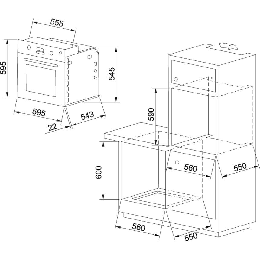 Forno Elétrico de Embutir 72l Franke Glass 52 - 220V